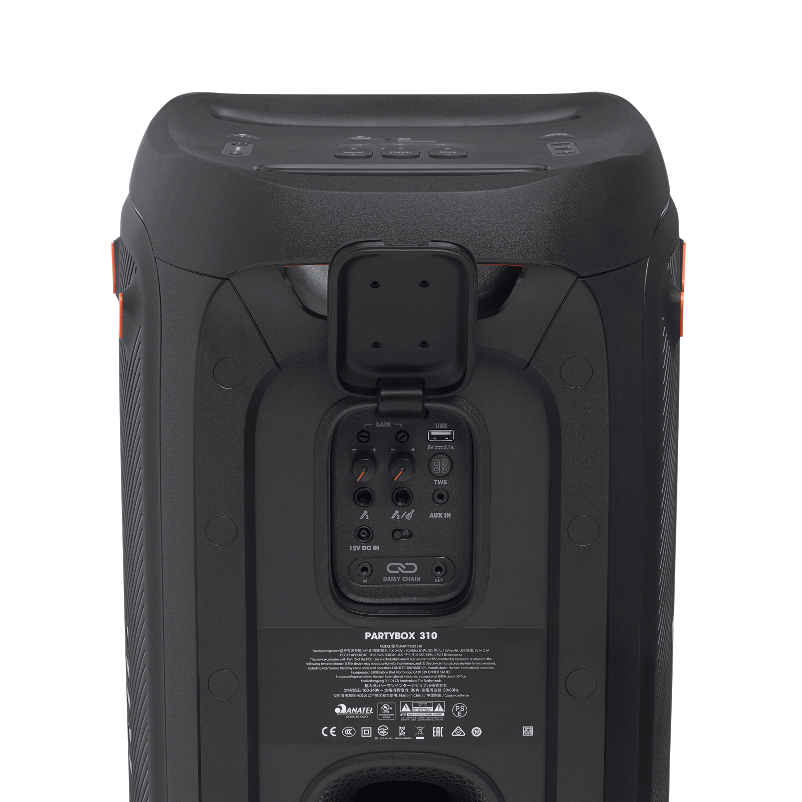 JBL Partybox 310 + Mic - Black - Portable party speaker with 240W powerful sound, built-in lightshow and wired mic - Detailshot 3
